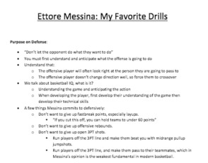 Ettore Messina Basketball Drills