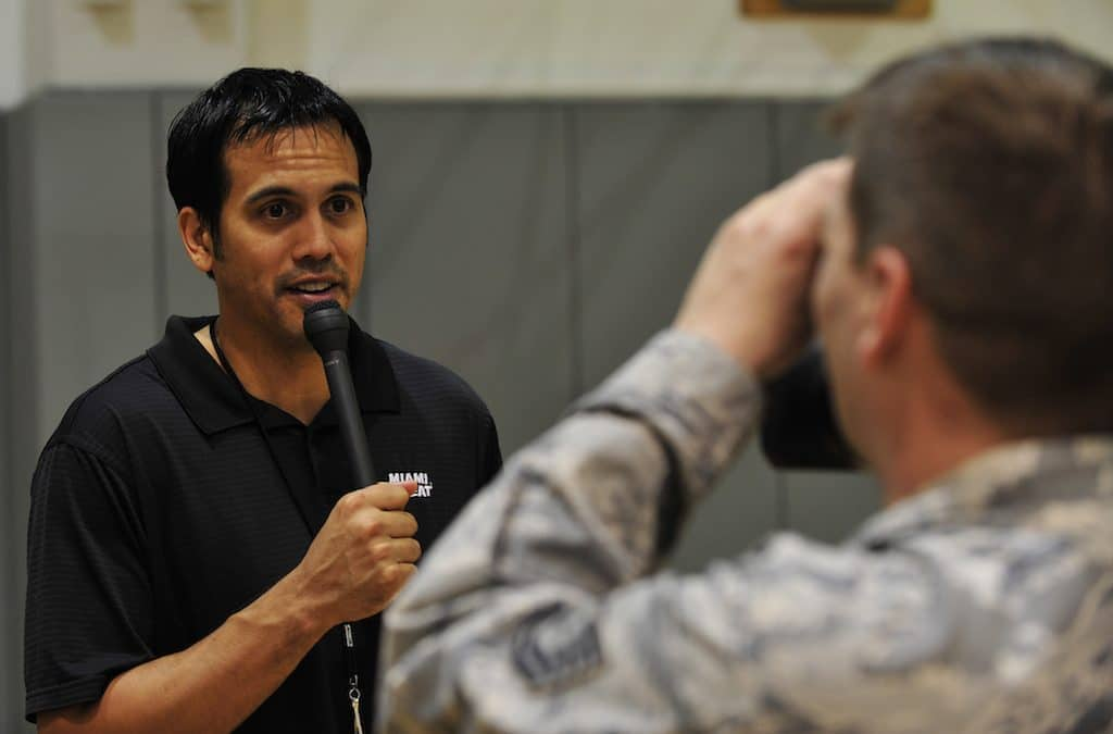Erik Spoelstra coaching style is taking the Heat upward.  Check out these shooting drills!